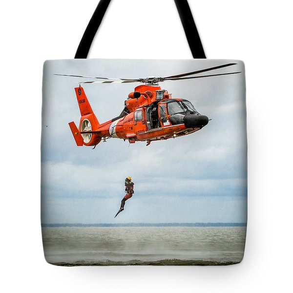 Free Falling Rescue Swimmer Tote Bag