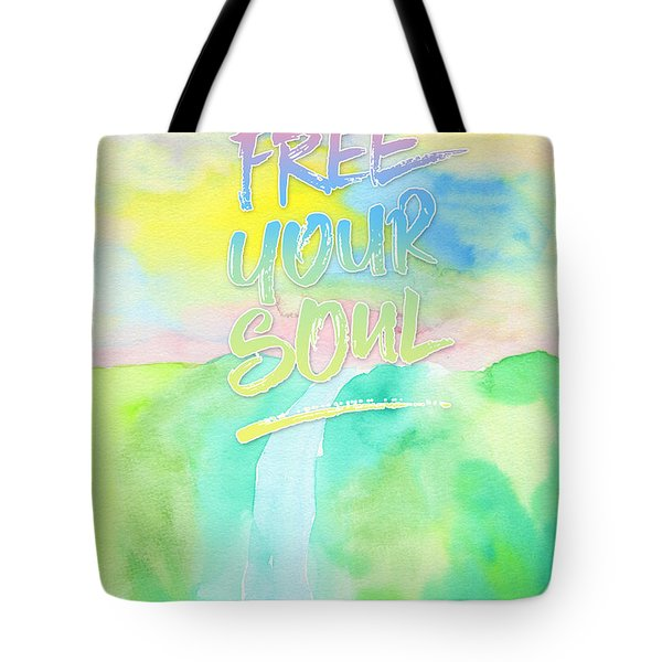 Free Your Soul Watercolor Colorful Spring Waterfall Painting Tote Bag