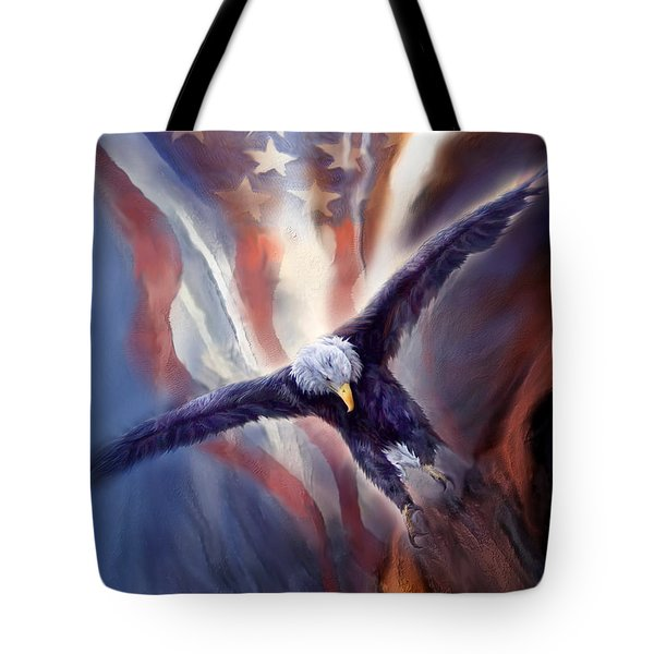 Tote Bag featuring the mixed media Freedom Eagle by Carol Cavalaris