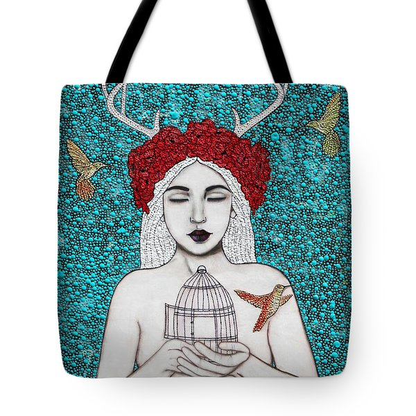 Tote Bag featuring the mixed media Freedom by Natalie Briney