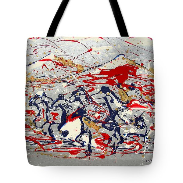 Tote Bag featuring the painting Freedom On The Open Range by J R Seymour