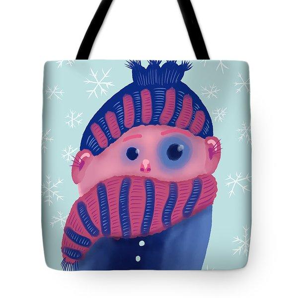 Freezing Kid In Winter Tote Bag