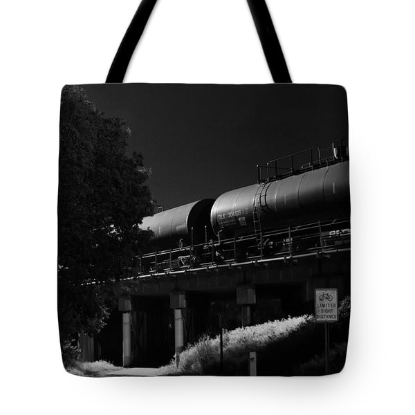 Freight Over Bike Path Tote Bag