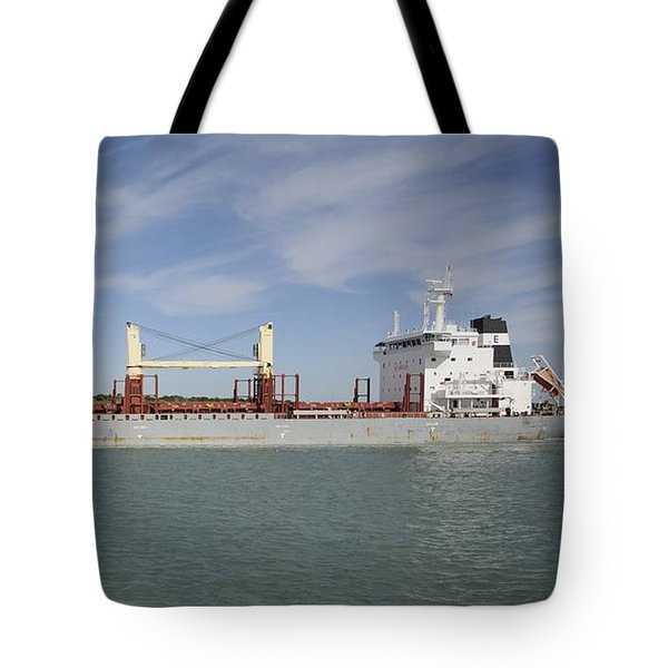 Tote Bag featuring the photograph Freighter Heading To Port by Bradford Martin