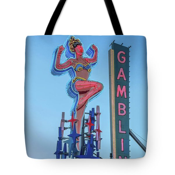 Fremont Street Lucky Lady And Gambling Neon Signs Tote Bag by Aloha Art