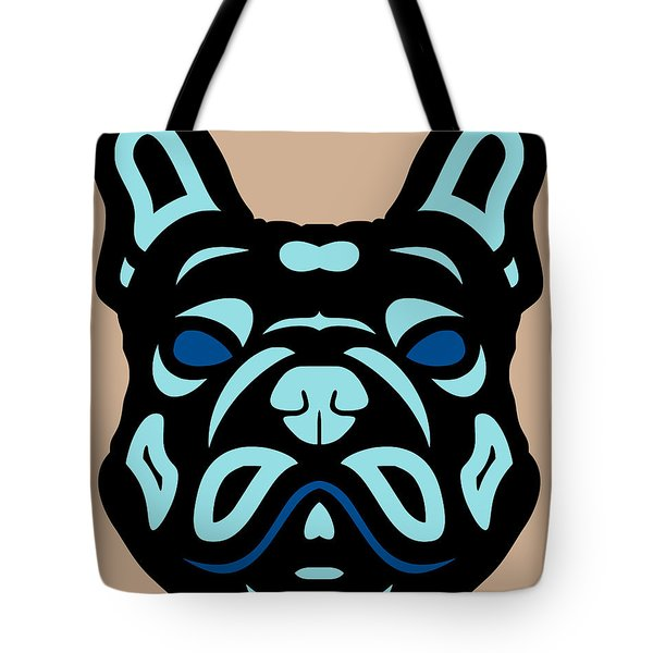 French Bulldog Francis - Dog Design - Hazelnut, Island Paradise, Lapis Blue Tote Bag