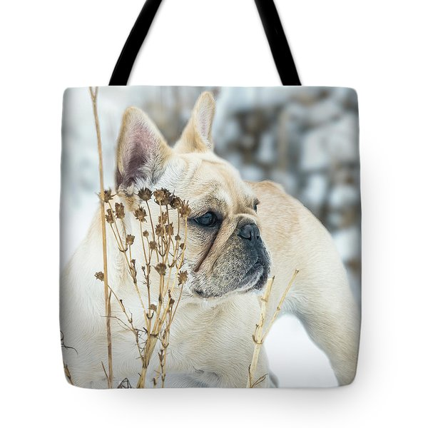 French Bulldog In The Snow Tote Bag