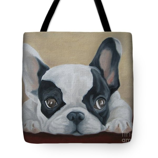 Tote Bag featuring the painting French Bulldog by Jindra Noewi