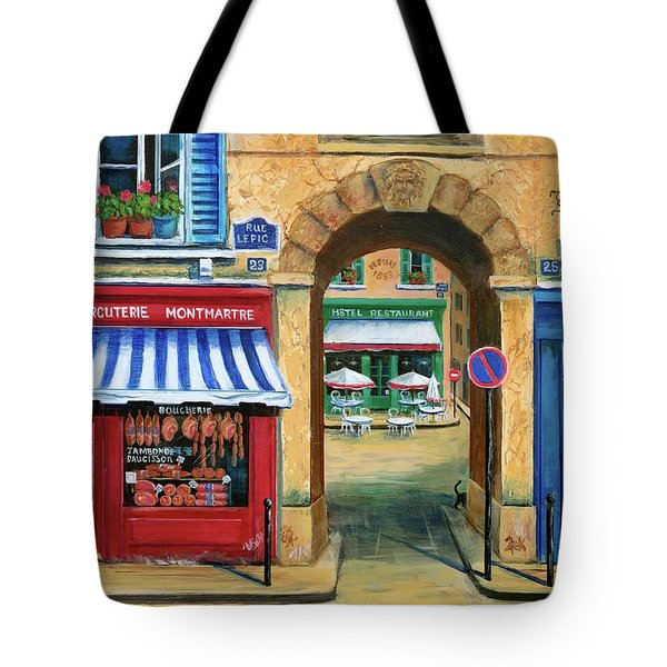French Butcher Shop Tote Bag by Marilyn Dunlap