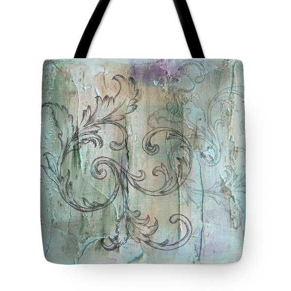 French Country Scroll In Muted Blue Tote Bag