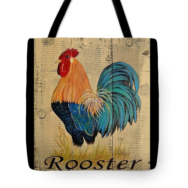 Tote Bag featuring the painting French Country Shabby Cottage Rooster by Cindy Micklos