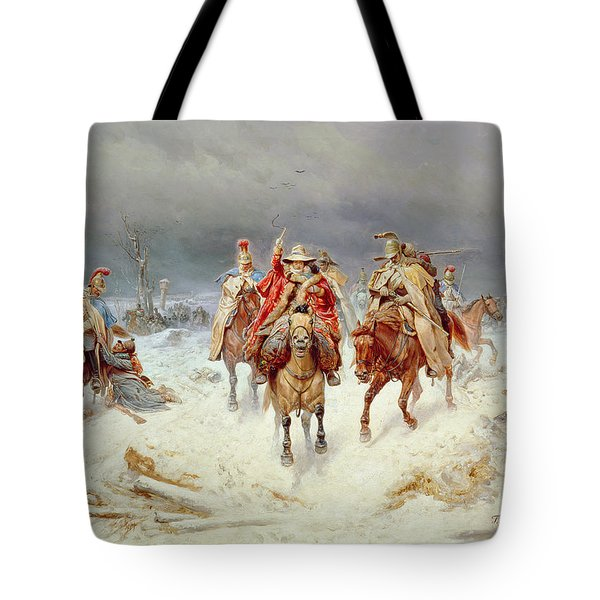 French Forces Crossing The River Berezina In November 1812 Tote Bag by Bogdan Willewalde