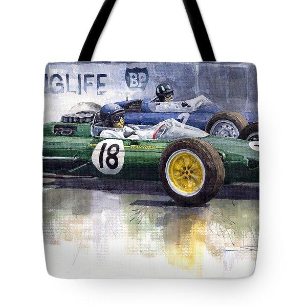 French Gp 1963 Start Lotus Vs Brm Tote Bag by Yuriy  Shevchuk