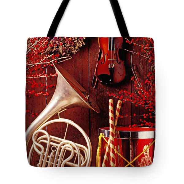 French Horn Christmas Still Life Tote Bag by Garry Gay