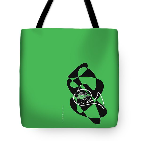 French Horn In Green Tote Bag