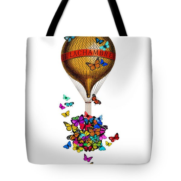 French Hot Air Balloon With Rainbow Butterflies Basket Tote Bag