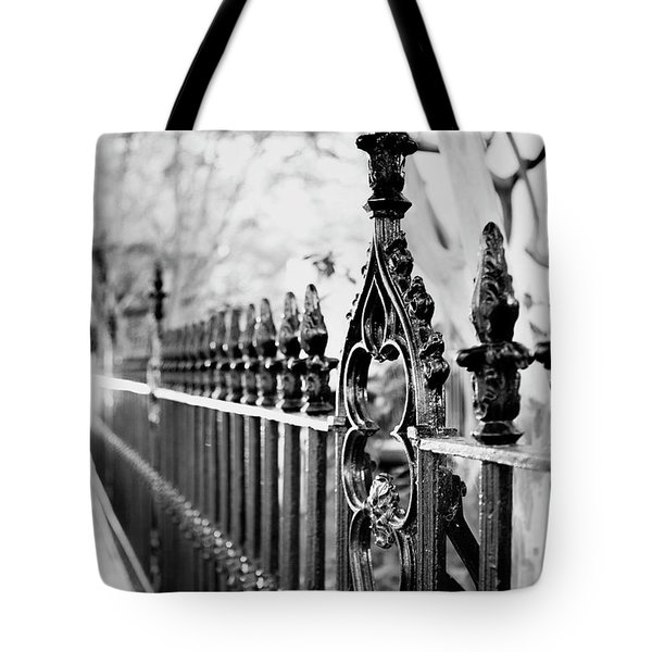 Tote Bag featuring the photograph French Huguenot Church Fence by Heather Green