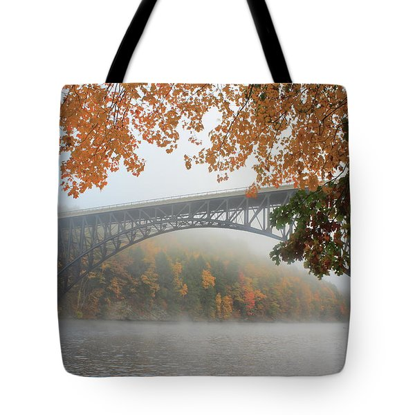 French King Bridge Autumn Fog Tote Bag by John Burk