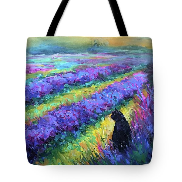 French Lavender Kitty Tote Bag
