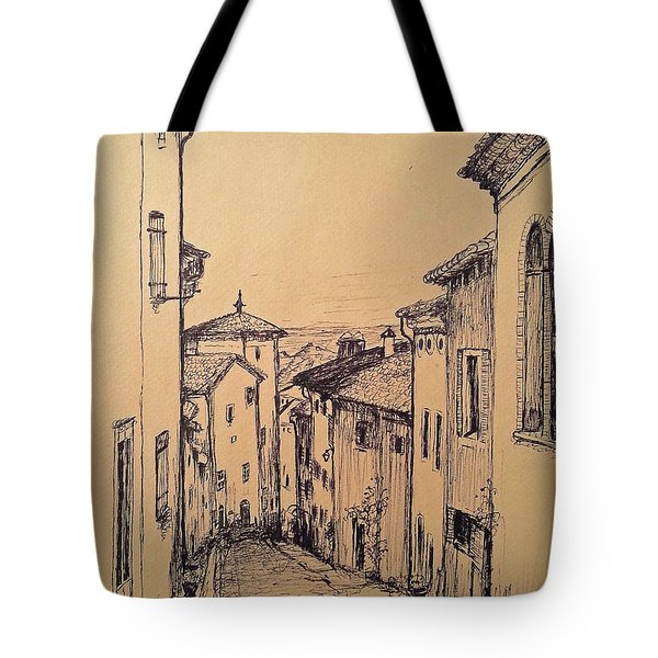 French Little Town Drawing Tote Bag