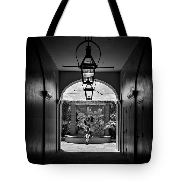 French Market's Michelle In Black And White Tote Bag