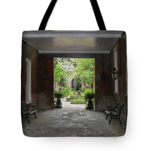 French Quarter Courtyard Tote Bag by Mark Barclay