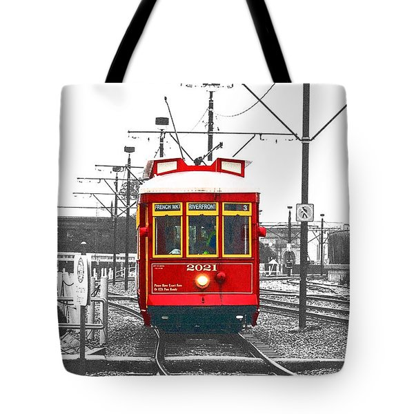 French Quarter French Market Cable Car New Orleans Color Splash Black And White With Film Grain Tote Bag