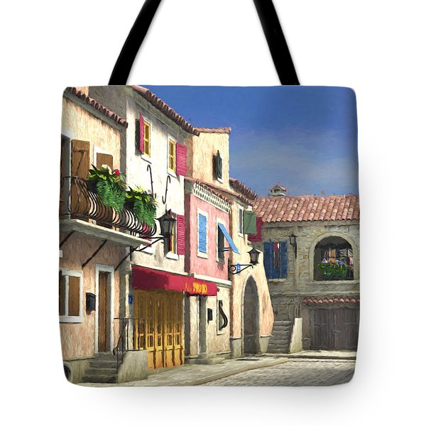 French Village Scene With Cobblestone Street Tote Bag