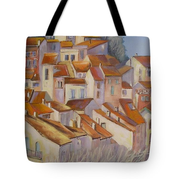 Tote Bag featuring the painting French Villlage Painting by Chris Hobel