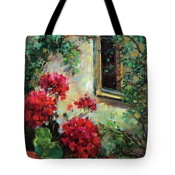 French Window Peeper Geraniums Tote Bag