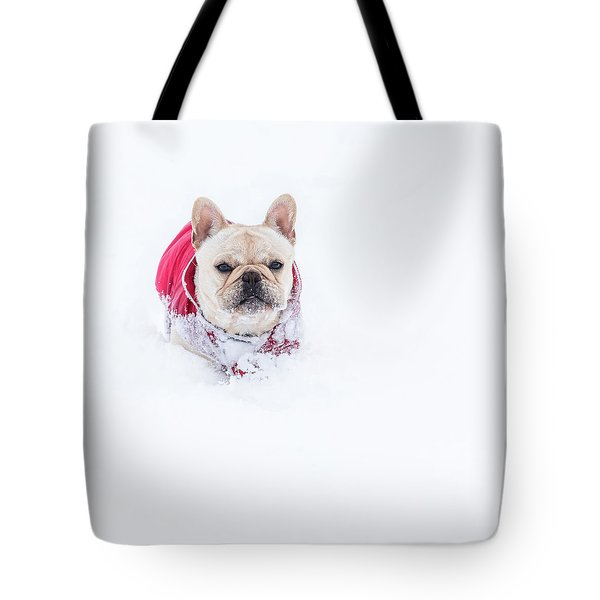 Frenchie In The Snow Tote Bag