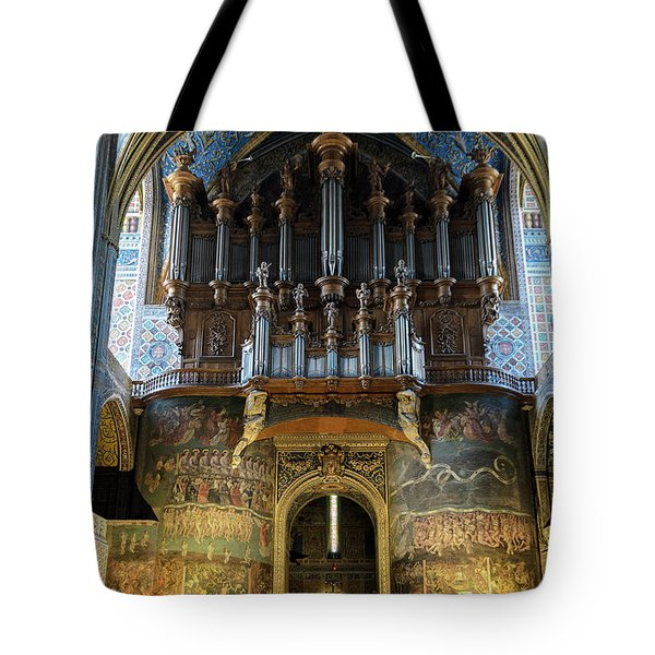 Fresco Of The Last Judgement And Organ In Albi Cathedral Tote Bag by RicardMN Photography