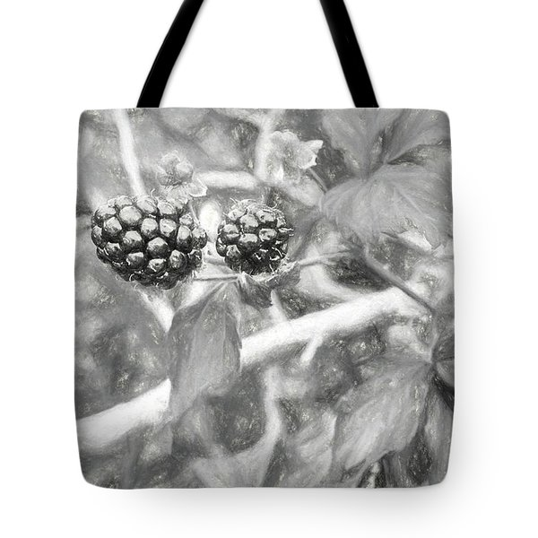 Tote Bag featuring the photograph Fresh Alabama Blackberries In Black And White by JC Findley