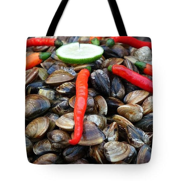 Tote Bag featuring the photograph Fresh Clams With Chilies And Limes by Yali Shi