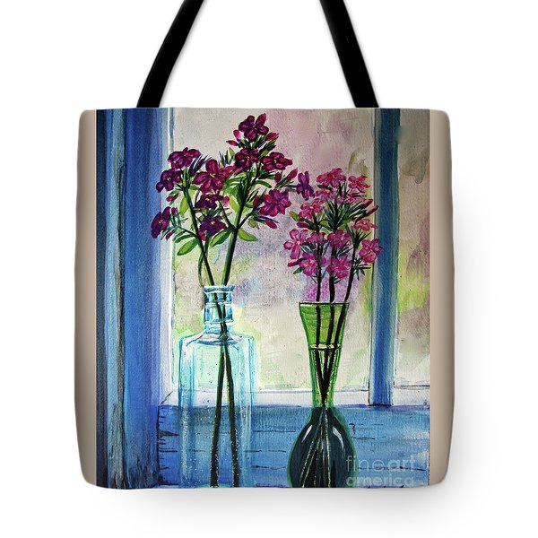 Tote Bag featuring the painting Fresh Cut Flowers In The Window by Patricia L Davidson