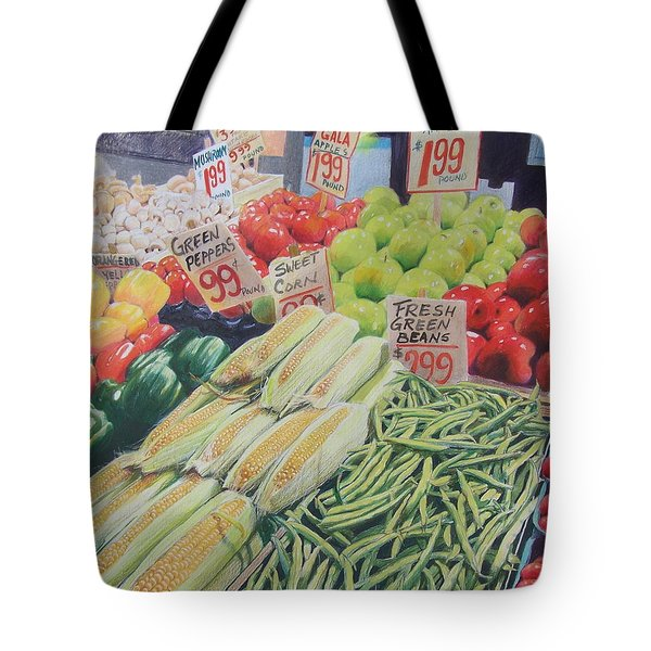 Tote Bag featuring the painting Fresh Green Beans by Constance DRESCHER