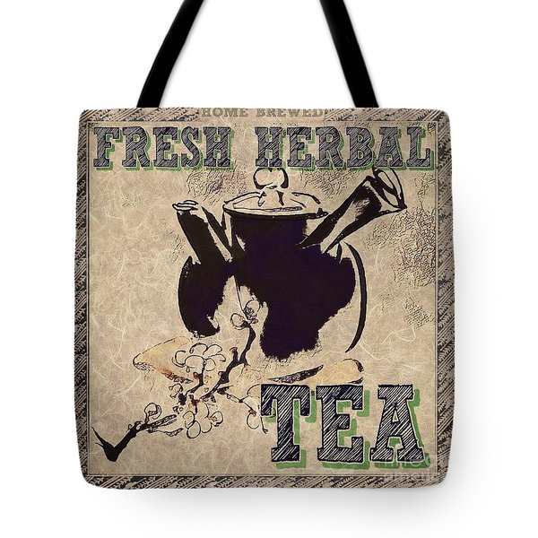 Tote Bag featuring the mixed media Fresh Herbal Tea by Lita Kelley