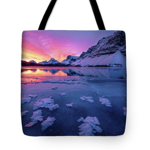 Fresh Ice On Bow Lake Tote Bag