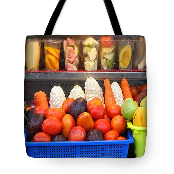 Tote Bag featuring the photograph Fresh Juice Street Vendor by Yali Shi