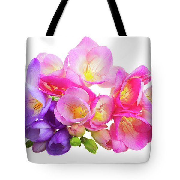 Fresh Pink And Violet Freesia Flowers Tote Bag