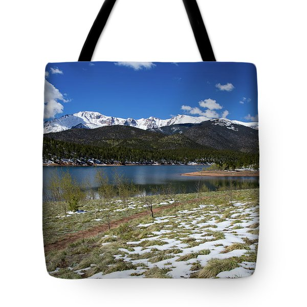 Fresh Snow Along The Banks Of Crystal Creek Reservoir With Pikes Tote Bag