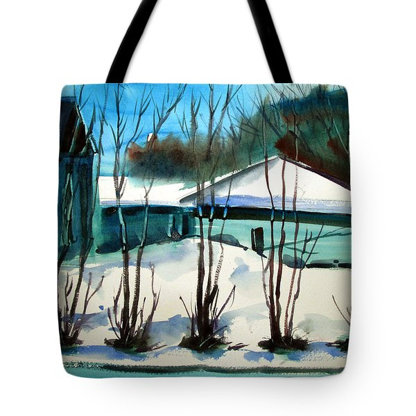 Tote Bag featuring the painting Fresh Snow Double Matted by Charlie Spear