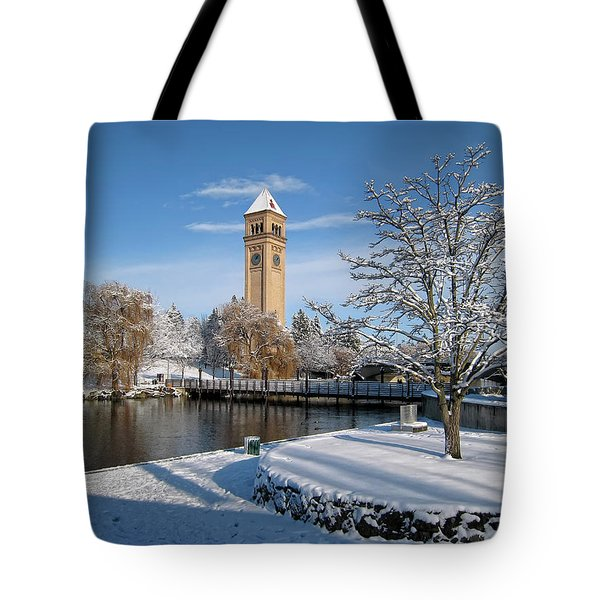 Fresh Snow In Riverfront Park - Spokane Washington Tote Bag by Daniel Hagerman