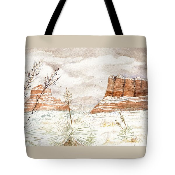 Fresh Snow On Bell Rock Tote Bag