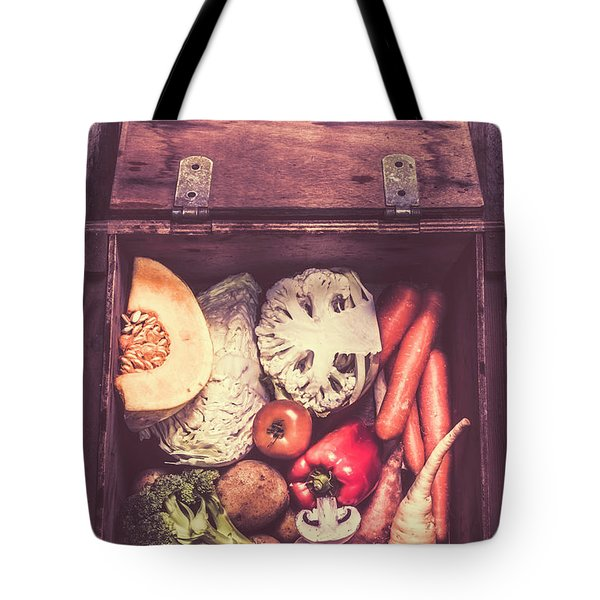 Fresh Vegetables In Wooden Box Tote Bag by Jorgo Photography - Wall Art Gallery
