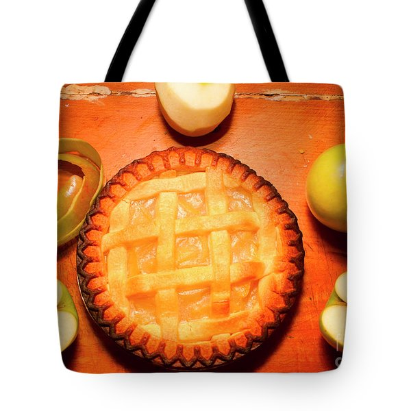 Freshly Baked Pie Surrounded By Apples On Table Tote Bag