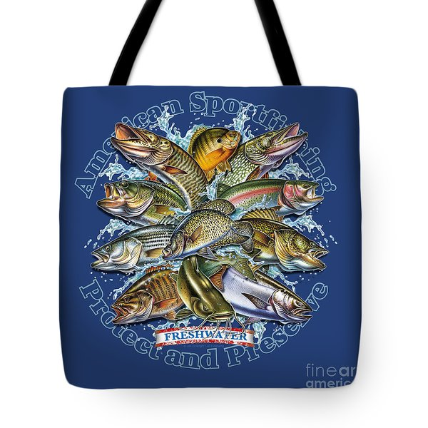 Freshwater Fish Preserve Tote Bag by Jon Q Wright JQ Licensing