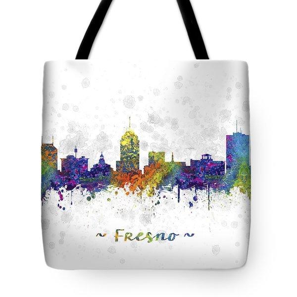 Fresno California Skyline Color 03sq Tote Bag