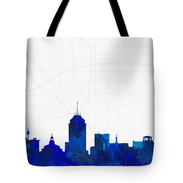 Fresno Cityscape And Streetmap Blue Skyline Tote Bag
