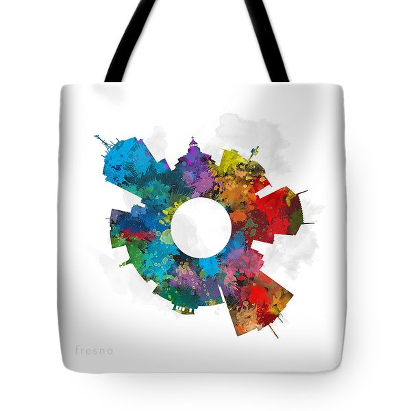 Fresno Small World Cityscape Skyline Abstract Tote Bag